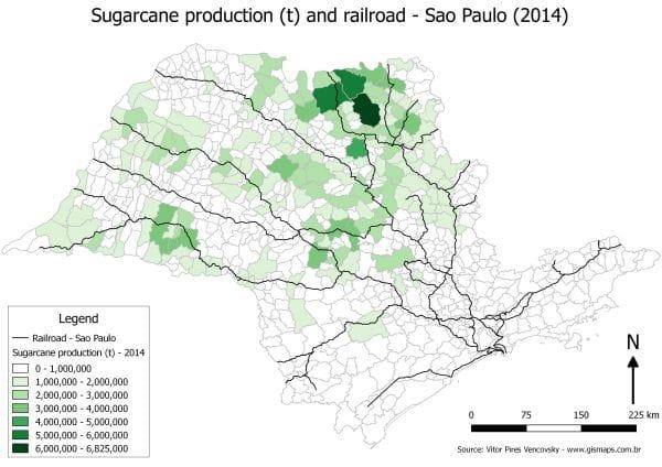 Produção de cana-de-açúcar e ferrovias em São Paulo