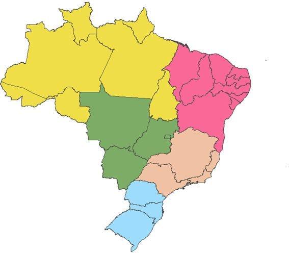 Unidades da Federação organizadas por regiões