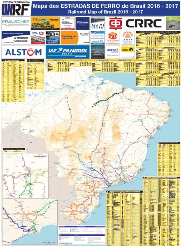Mapa impresso das estradas de ferro do Brasil