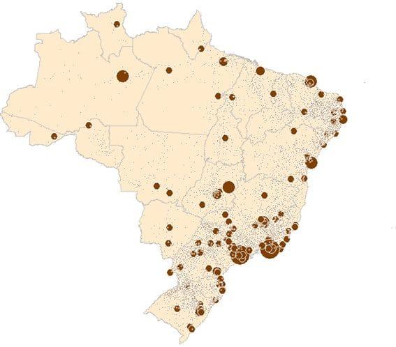 Representação pontual da população por município