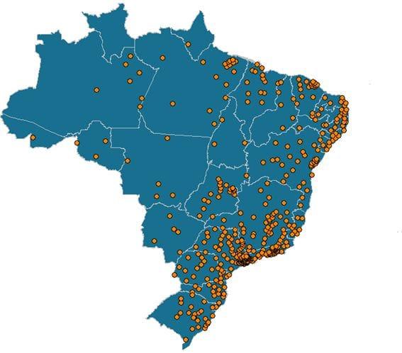 Nuvem de pontos representando a população por mesorregião