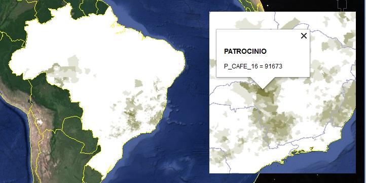 Produção de grãos de café por município (KML) - Coffee beans production by municipality in Brazil (KML)